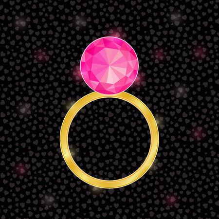 rubin: Golden Ring with Pink Jewelery Stone. Wedding Background Illustration