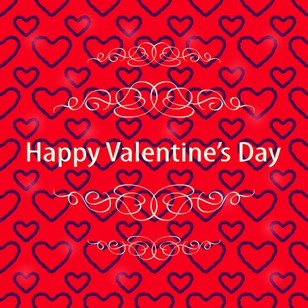 Dark Heart Silhouette over Red Valentine Background. Greeting Lovly Card Vector
