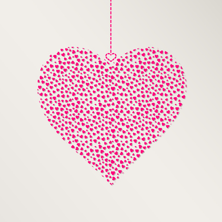 hangs: Happy Valentines Day Greeting Card. Pink Hearts Hangs over Gray Backdrop