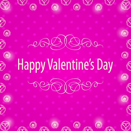 Happy Valentines Day Frame with White Hearts over Pink Background Vector