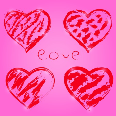 Red Hand Painted Vector Hearts on Pink Background  Vector Valentine Card
