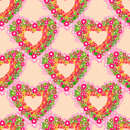 Cartoon Cute Foral Heart Seamless Background  Vector Valentine Pattern