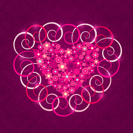 Heart Filled with Pink Flowers and Swirl Decoration  Purple Valentine Card Vector