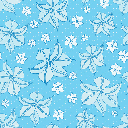 Blue Seamless Floral Pattern. Light Faded Flower Background