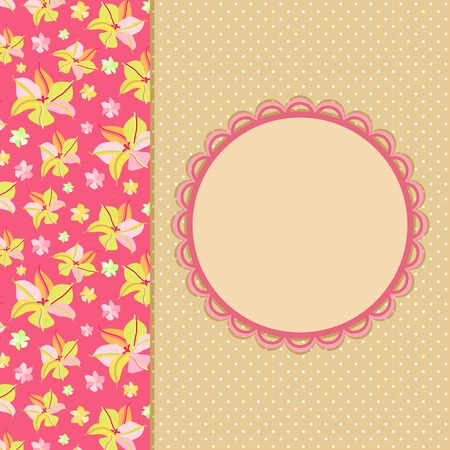Pink Flower Panel on Beige Invitation Card with Round Label