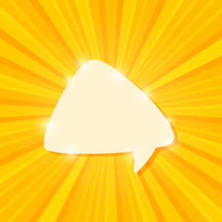 White Bubble Chat on Yellow Sun Beams. Vector Icons Vector