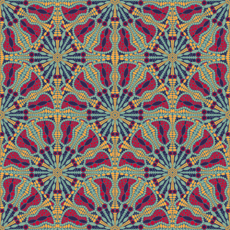 kaleidoscopic: Red Blue Abstact Seamless Pattern with Round elements. Vector Illustration