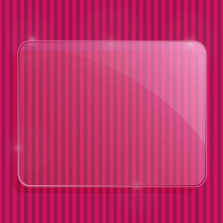 Pink Glass Frame on Stripe Pattern with Copy Space. Vector Illustration. Vector