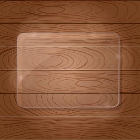 Dark Brown Wooden Texture with Glass Framework. Vector Illustration Vector