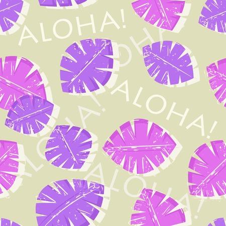 Aloha Hawaiian Purple Leaf Seamless Pattern Vector