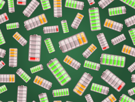 Seamless pattern with batteries charged in different level on dark green background Vector