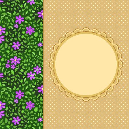 Purple Flower Panel on Beige Invitation Card with Round Label