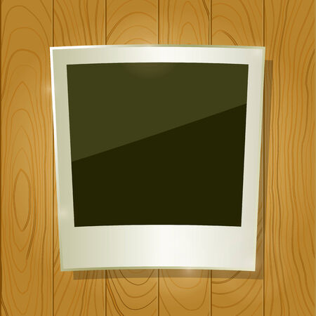 Instant Photo Frame on Wooden Board. Background Texture Illustration