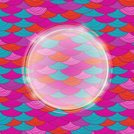 Colorful Bright Abstract Pink Card with Round Label in the Middle