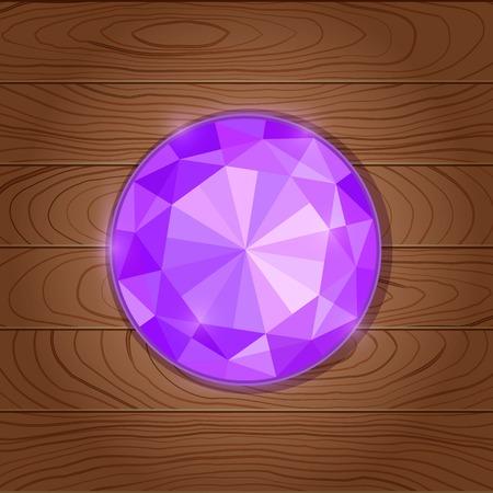 Shiny Purple Gemstone Icon on Wooden Background Vector