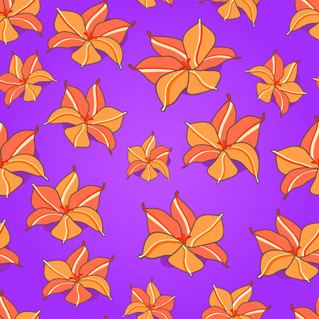 Orange flowers on Purple Seamless Pattern. Vector Floral Illustration Vector