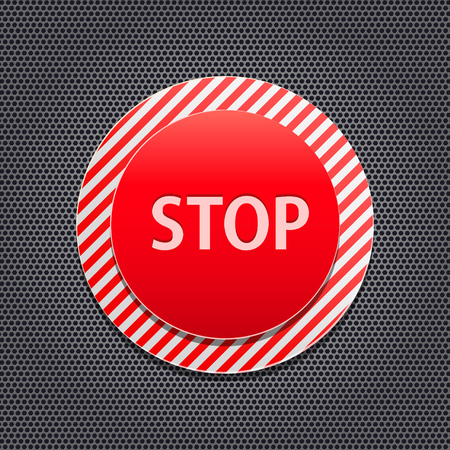 Red Stop Button on Stripe Panel and Metal Background. Vector Illustration Vector