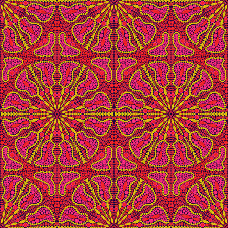 Pink Seamless Pattern  with Oriental Kaleidoscopic Ornament Vector