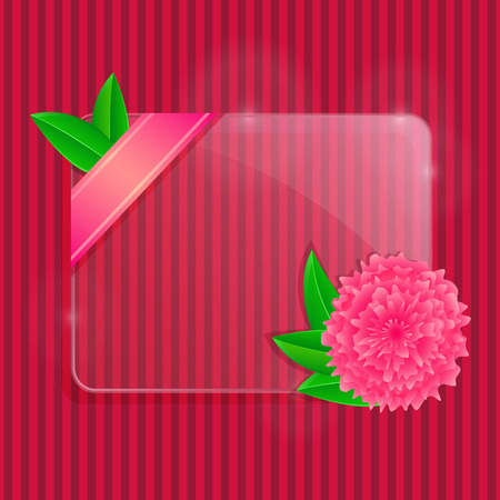 Glass Frame with Pink Flower and Green Leaves with Copy Space on Black Stripe Background. Abstract background. Vector illustration. Vector