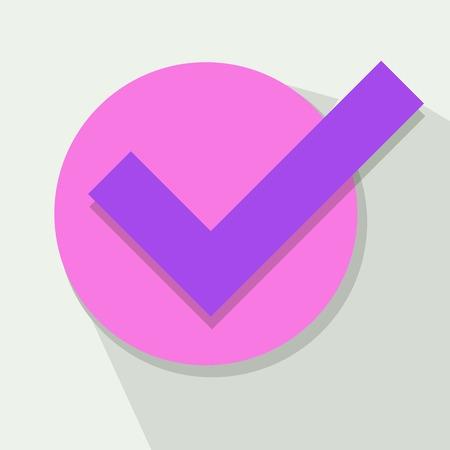 Purple Check Mark in Falt Design. Approval Concept Illustration Illustration