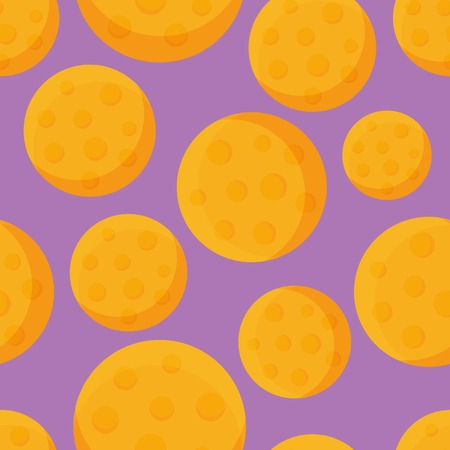 Round Cheese Seamless Pattern. Flat Design Background Vector