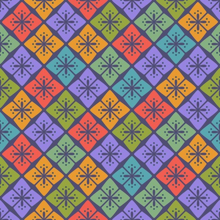 Colorful Seamless Floral Geometric Pattern. Simple Vector Illustration.
