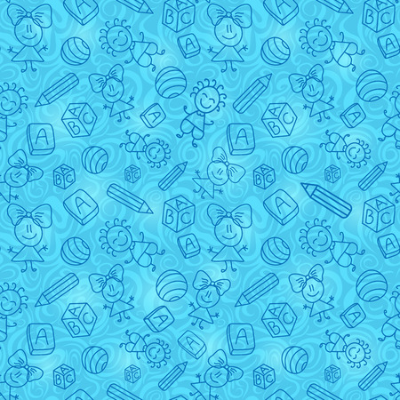 Blue Hand Drawn Seamless Pattern with Kid, Book and Pencil Silhouettes. Vector Background Illustration