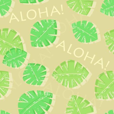 Aloha Hawaiian Green Leaf Seamless Pattern Vector