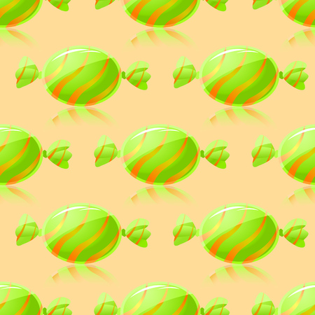 Shiny Green Candies Seamless Pattern on Yellow background Vector
