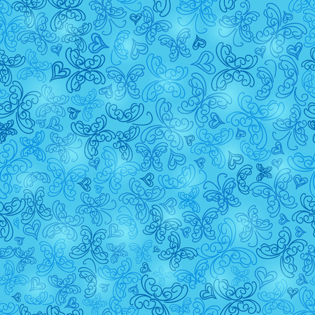 Light Blue Seamless Butterfly Silhouette Pattern Background. Vector Vector
