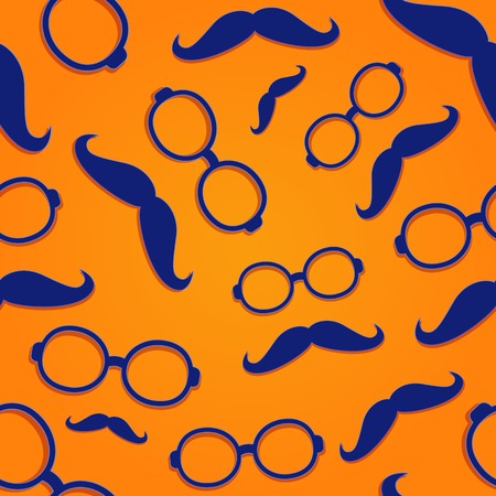 Seamless Pattern with Blue Glasses Frame and Moustach on Red Background. Flat Design Illustration