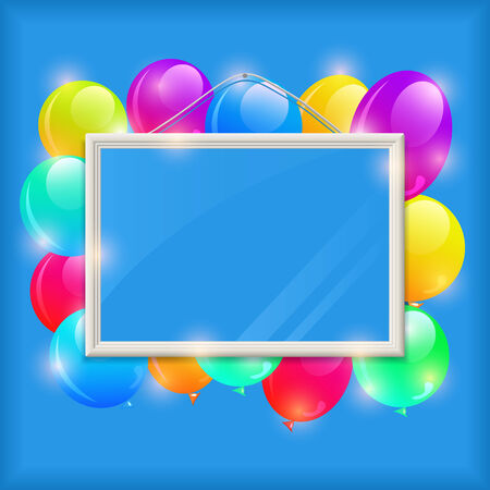 White Empty Frame with Bright Colorful Balloons on Blue Wall. Vector Illustration with Cope-Space for Message Illustration