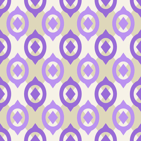 Purple Plain Vector Seamless Pattern with Geometric Ornament on White Background