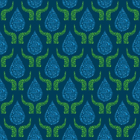 Go Green Concept Seamless Pattern. Hands Holding Blue Water Drops. Pollution and Eco Style Vector