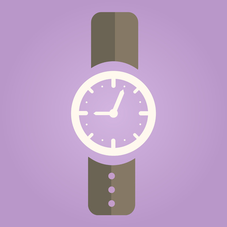 clock face: Hand Watch Icon on Gray Background. Flat Design Vector Illustration