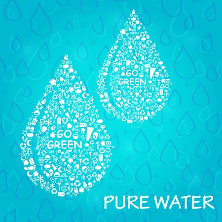 Two Water Drops. Go Green Eco Card. Ecolody Concept Vector Illustration.