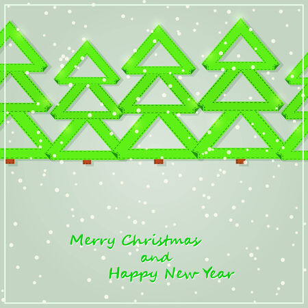Green Paper Christmas Tree Silhouette. New Year Greeting Card Illustration