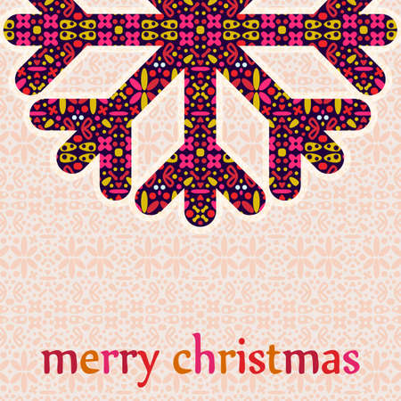 Christmas Greeting Card with Retro Snowflake. Vintage Background Vector