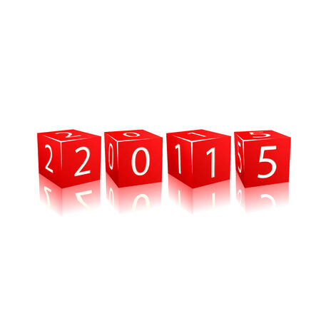 2015 year numbers on red cubes. Illustration isolated on white background Vector