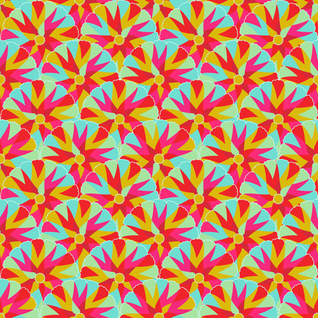 Yellow Pink Seamless Texture with Symmetry Decoration. Vector Illustration of Background Pattern