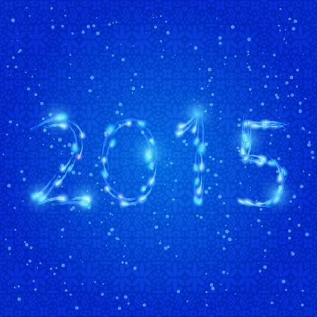 Shiny Blue Neon 2015 New Year Numbers. Greeting Card Background Vector. Vector