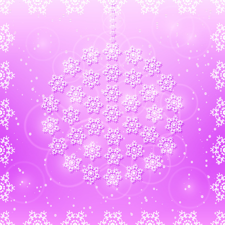 christams: White Detailed Snowflakes on Purple Background. Happy Christams and New Year Invitation Card