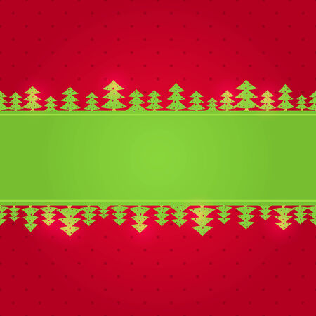 Red Green Christmas Background Card with Paper New Year Tree