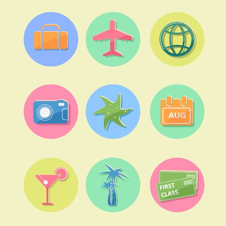 Flat Design Travel Icon Set with Luggage Airplane Palm Coctail Circle signs