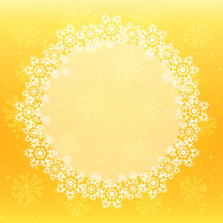 Christmas Background with White Shiny Round Snowflakes on Yellow Background. Vector Holiday Card Vector