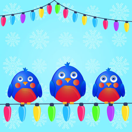 Birds with Seats on Christmas Light Wire. Season Greeting. Vector Illustration. Vector