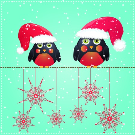 Birds in Cute Red Hat Seats on Wire. Christmas Season Greeting. Vector Illustration. Vector