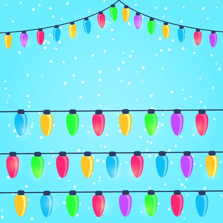 Colorful New Year and Christmas Light Bulbs on Snow Background Vector