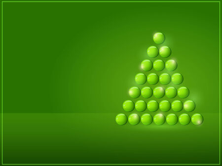xmax: Shiny Simple Christmas Tree with Place for Text. New Year Green Card