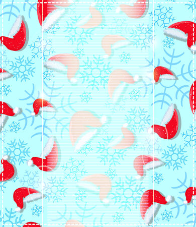 Red Santa Hats and Snowflakes on Cyan Blue Background. Holiday Illustration Vector